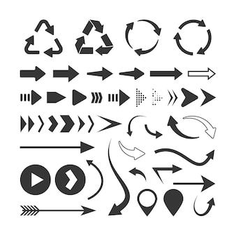 Conjunto de flechas negras aislado en blanco