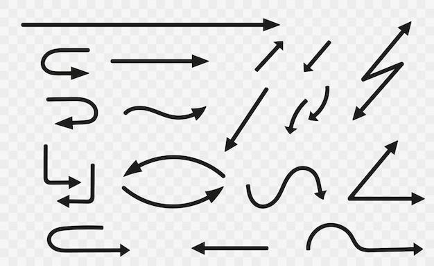 Conjunto de flechas negras. colección de flechas negras. iconos de flechas.