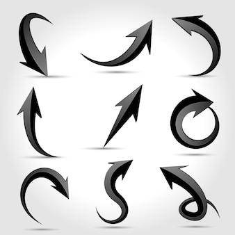 Conjunto de flechas negras