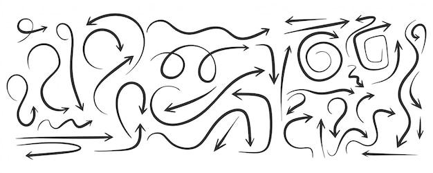 Conjunto de flechas onduladas dibujadas a mano