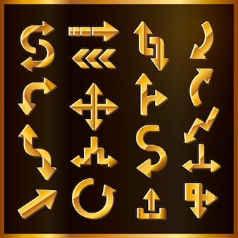 Conjunto de flechas de oro de lujo aislado sobre fondo negro