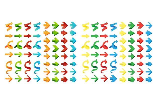 Conjunto de flechas poligonales triangulares aisladas, deshacer y botones anteriores.