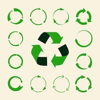 Conjunto de flechas de reciclaje