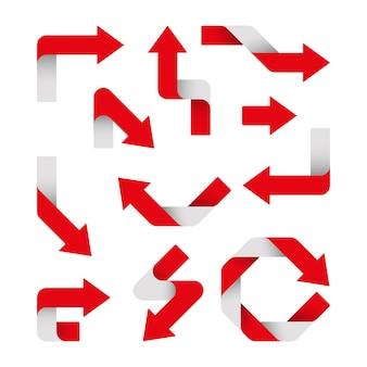Conjunto de flechas rojas están aisladas