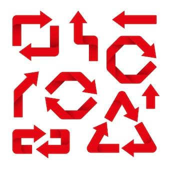 Conjunto de flechas rojas