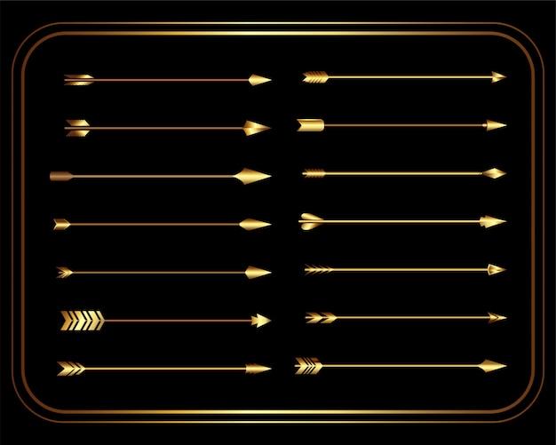 Conjunto de flechas tribales vintage dorado