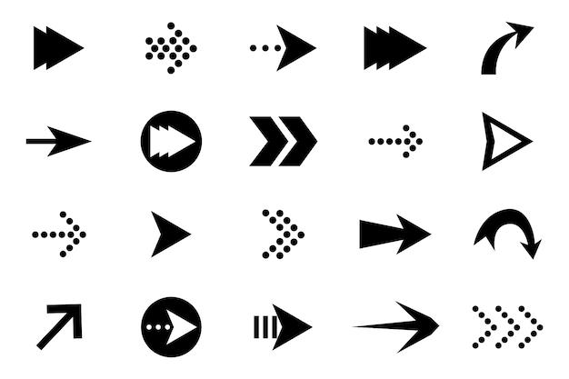 Conjunto de flechas vector negro.
