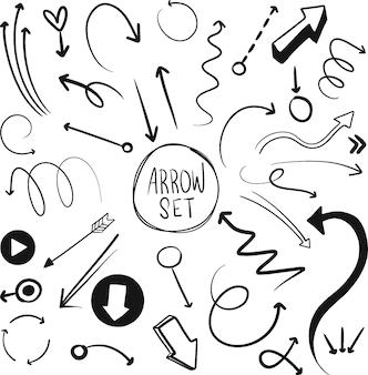 Conjunto de flechas vectoriales dibujadas a mano paquete de flechas de doodle sobre fondo blanco creatividad y negocios