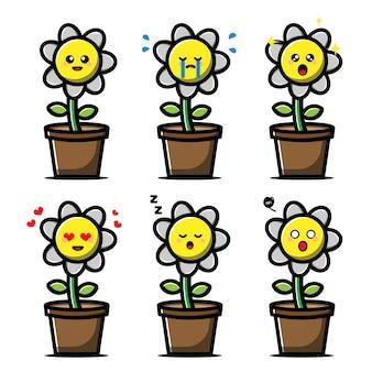 Conjunto de flor linda con personaje de dibujos animados de expresión