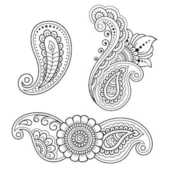 Conjunto de flor mehndi. decoración en estilo étnico oriental, indio. adorno de doodle. ilustración de sorteo de mano de contorno.
