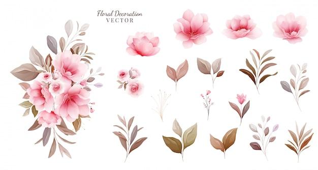 Conjunto floral arreglos botánicos y elementos individuales de flores de sakura pálido, hoja, rama.