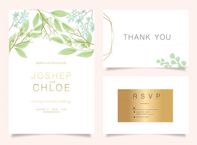 Conjunto floral de invitación de boda