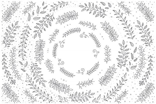 Conjunto floral dibujado a mano