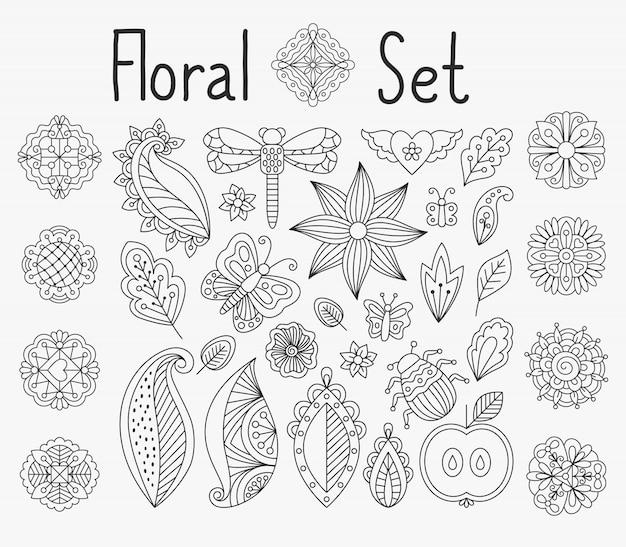 Conjunto floral con hojas y mandalas.