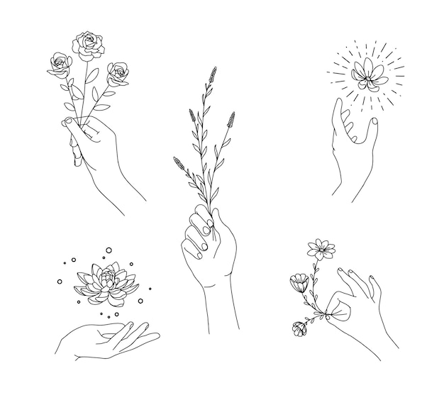 Conjunto floral de mano con estilo de dibujo a mano