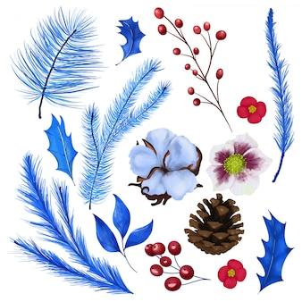 Conjunto floral navideño