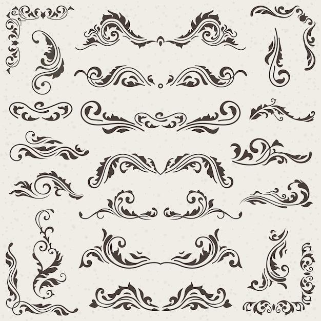 Conjunto floral de swirl elements para diseño.