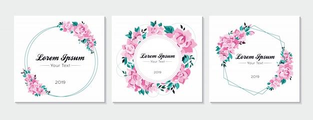 Conjunto floral de tarjetas de invitación