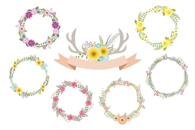 Conjunto floral vintage para decoración