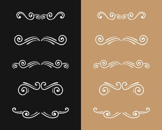 Conjunto de florecer vintage lujo estilo retro adorno dorado divisor remolino marcos ornamentados oro borde arte elegante decoración para título y línea de libro de texto