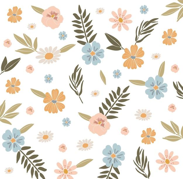Conjunto de flores abstractas flores de primavera boho