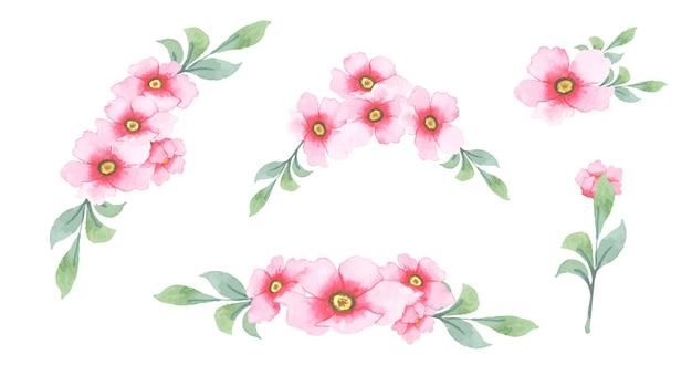 Conjunto de flores de acuarela dibujadas a mano