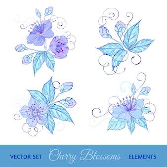 Conjunto de flores de cerezo