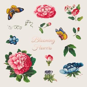 Conjunto de flores chinas vintage vector