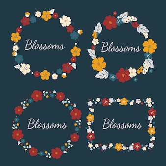 Conjunto de flores de colores