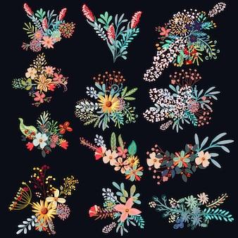 Conjunto de flores decorativas.