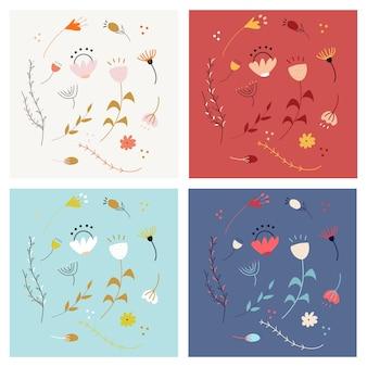 Conjunto de flores dibujadas a mano doodle decorativo.