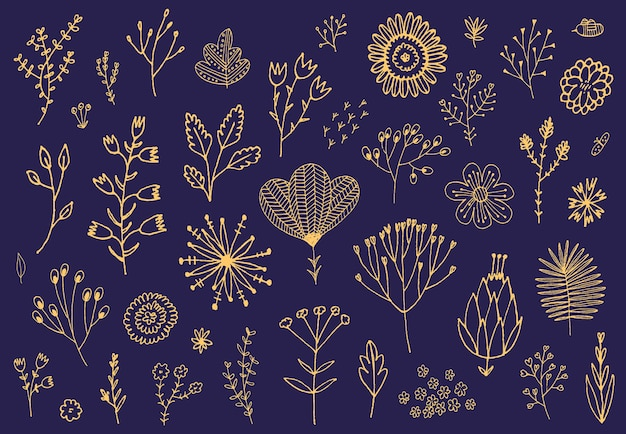 Conjunto de flores dibujadas a mano doodle