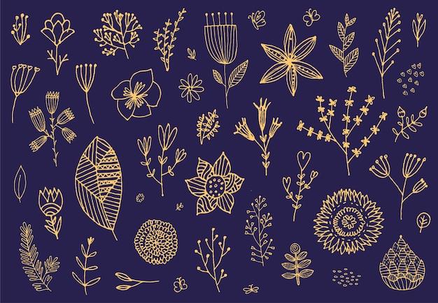 Conjunto de flores dibujadas a mano doodle Vector Premium
