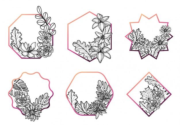 Conjunto de flores dibujo a mano y boceto en blanco y negro
