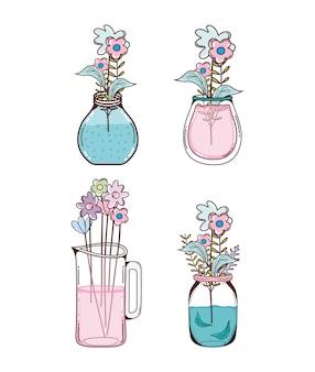 Conjunto de flores en dibujos animados de tarros de albañil