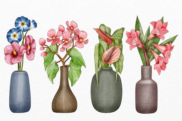 Conjunto de flores de estilo pintado a mano