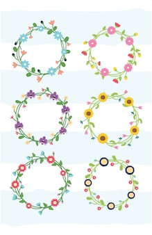 Conjunto de flores de guirnalda floral de marco de flores con ilustración en blanco