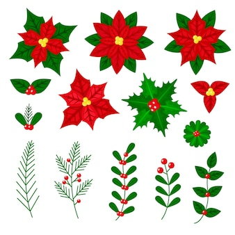 Conjunto de flores y guirnaldas navideñas de diseño plano