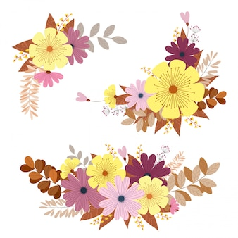 Conjunto de flores y hojas multicolores, carta de invitación de boda para tarjetas de felicitación en blanco