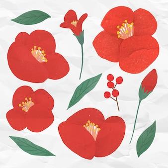Conjunto de flores y hojas rojas