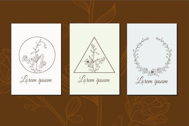 Conjunto de flores línea arte decoración diseño ilustración