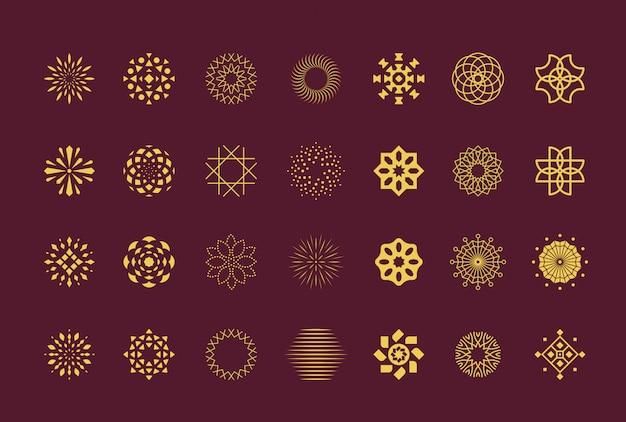 Conjunto de flores de lujo abstracto