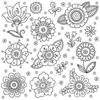 Conjunto de flores mehndi. decoración en estilo étnico oriental, indio. doodle de adorno. esquema mano dibujar ilustración.