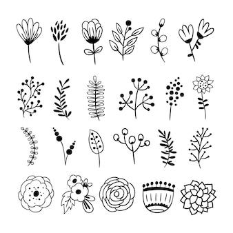 Conjunto de flores monocromas y hojas.