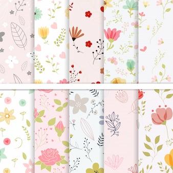 Conjunto de flores de patrones sin fisuras