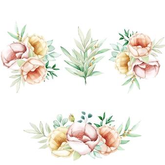 Conjunto de flores de peonías de acuarela