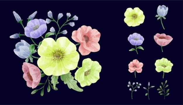 Un conjunto de flores pintadas con acuarelas para acompañar varias tarjetas y tarjetas de felicitación.