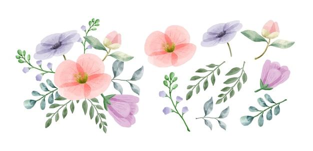 Un conjunto de flores pintadas con acuarelas.