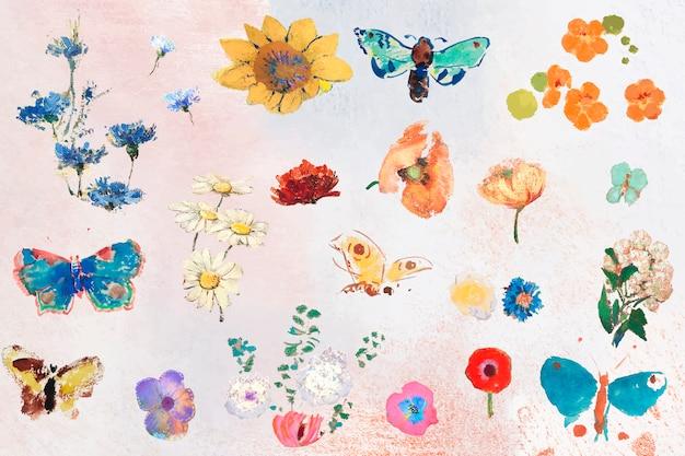 Conjunto de flores de pintura al óleo