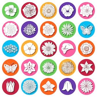 Conjunto de flores planas abstractas